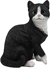 Ebros Lifelike Sitting Tuxedo Black and White Cat with Paw Up Statue 10.25