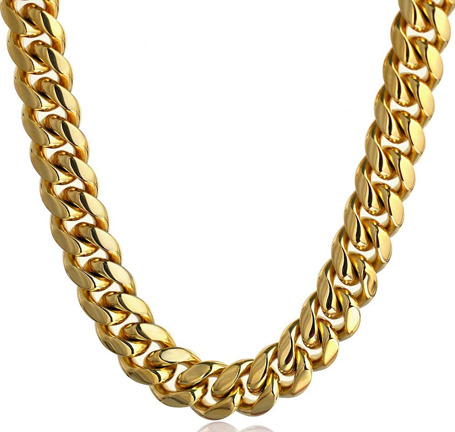 Bforward Jewelry 18K Gold Plated Stainless Steel Heavy Solid Cuban Link Chain with Secure Box Clasp Lock-Hip Hop Jewelry Necklace