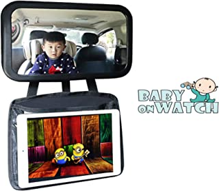 Baby Car Mirror with Ipad Holder | View Infant in Rear Facing Car Seat | Baby Mirror for Back Seat with Tablet Holder