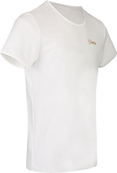 TanMeOn Camiseta de Bronceado para Hombres, recibe Bronceado bajo la Camiseta, Corte con Cuello Redondo, Colores: Blanco, Azul o Gris,