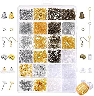 Paxcoo 2400Pcs Earring Making Supplies Kit with 24 Style Earring Hooks Earring Backs Earrings Posts and Earring Making Fin...
