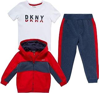 DKNY Baby Boy's Active Sweatsuit Set - Zip Sweatshirt, T-Shirt, and Jogger Playwear Set (Infant/Toddler)