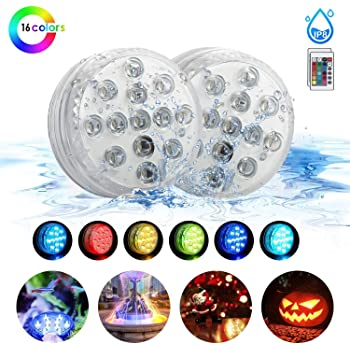 BigBig Style Store Submersible LED Lights 16 Colors Waterproof Bath Underwater Lights with Remote Control