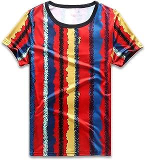 Vertical Striped T Shirt Men Rainbow Stripes Tee Crew Neck Short Sleeve Casual