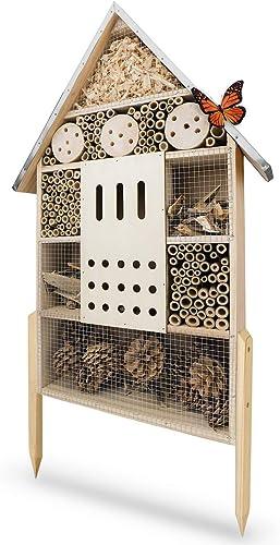 WILDLIFE FRIEND Hôtel à Insecte XL en Bois avec Toit en Métal - Maison Insectes, sur Pied, Hotel a Insectes a Constru...