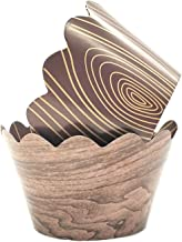 Woodland Cupcake Wrappers,Wood Grain Cupcake Wrappers for Rustic Weddings,Wild Animals Baby Shower Decorations,Rustic Wood...