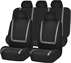 FH Group FB032115 Unique Flat Cloth Seat Covers, Gray/Black Color- Fit Most Car, Truck, SUV, or Van