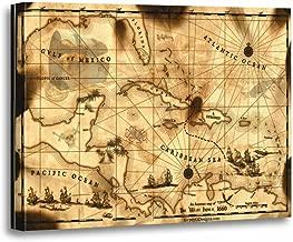 TORASS Canvas Wall Art Print Pirate Caribbean Treasure Map Florida Bahamas Islands Ships Artwork for Home Decor 12