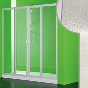 Forte Puerta de Ducha de bañera 160 CM en Acrílico Mod. Plutone 2 con Apertura Central: Amazon.es: Hogar
