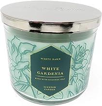 Bath and Body Works 2019 Vela perfumada de 3 mechas de Gardenia Blanca de Granero de 14.5 onzas con Etiqueta Floral Verde y Dorado