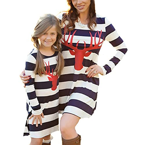9528be21e3f29 BANGELY Mommy and Me Fashion Stripe Deer Print Long Sleeve Dress Matching  Family Clothes