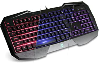AULA SI-859 Backlit Gaming Keyboard with Adjustable Backlight Purple Red Blue USB Wired Illuminated Computer Keyboard OPEN BOX