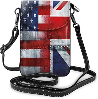 Jiger Women Small Cell Phone Purse Crossbody,Alliance Togetherness Theme Composition Of UK And USA Flags Vintage