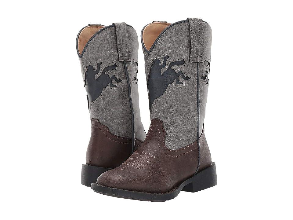 Roper Kids Buckin Bronc (Toddler/Little Kid) (Brown Vintage Vamp/Green Shaft) Cowboy Boots