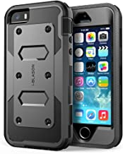 iPhone 5S Case, [Heave Duty]Slim Protection i-Blason Armorbox [Dual Layer] Hybrid Full-body Protective Case with Front Cover and Built-in Screen Protector / Impact Resistant Bumpers Cover with Holster Combo for Apple iPhone 5 / 5S (Black)