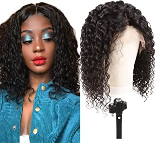 Lace Front Bob Wig Kinky Curly Human Hair Wigs with Baby Hair for Black Women Pre Plucked Miss Wig (14inch, natural black)