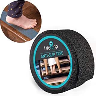 LifeGrip Anti Slip Safety Tape, Non Slip Stair Tread, Textured Rubber Surface, Comfortable for Bare Foot, Black (2