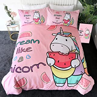Sleepwish Cute Unicorn Bedding Funny Unicorn Eating Watermelon Pattern Duvet Cover White and Pink Bed Set 3 Pieces Full