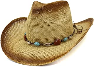 SHENTIANWEI Women Men Summer Cowboy Hat Straw Sun Visor Western Paint Cowgirl Turquoise Braided Rope Beach Hat