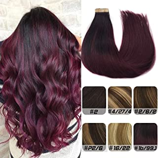 Labhair Tape in Hair Extensions Ombre Natural Black to Burgundy 99J Remy Human Hair Extensions Silky Straight Seamless Skin Weft Invisible Double Sided Tape in Extensions 20inch 20pcs 50g