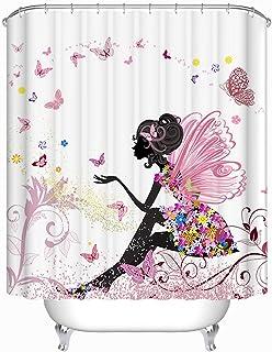 Beddingleer Cortina de Ducha Rosa Mariposa Niña Impresión