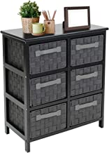 Sorbus 6-Drawer Storage Wooden Chest Nightstand End Table with Woven-Strap Fabric Basket Bins Drawers, Great Storage Solut...