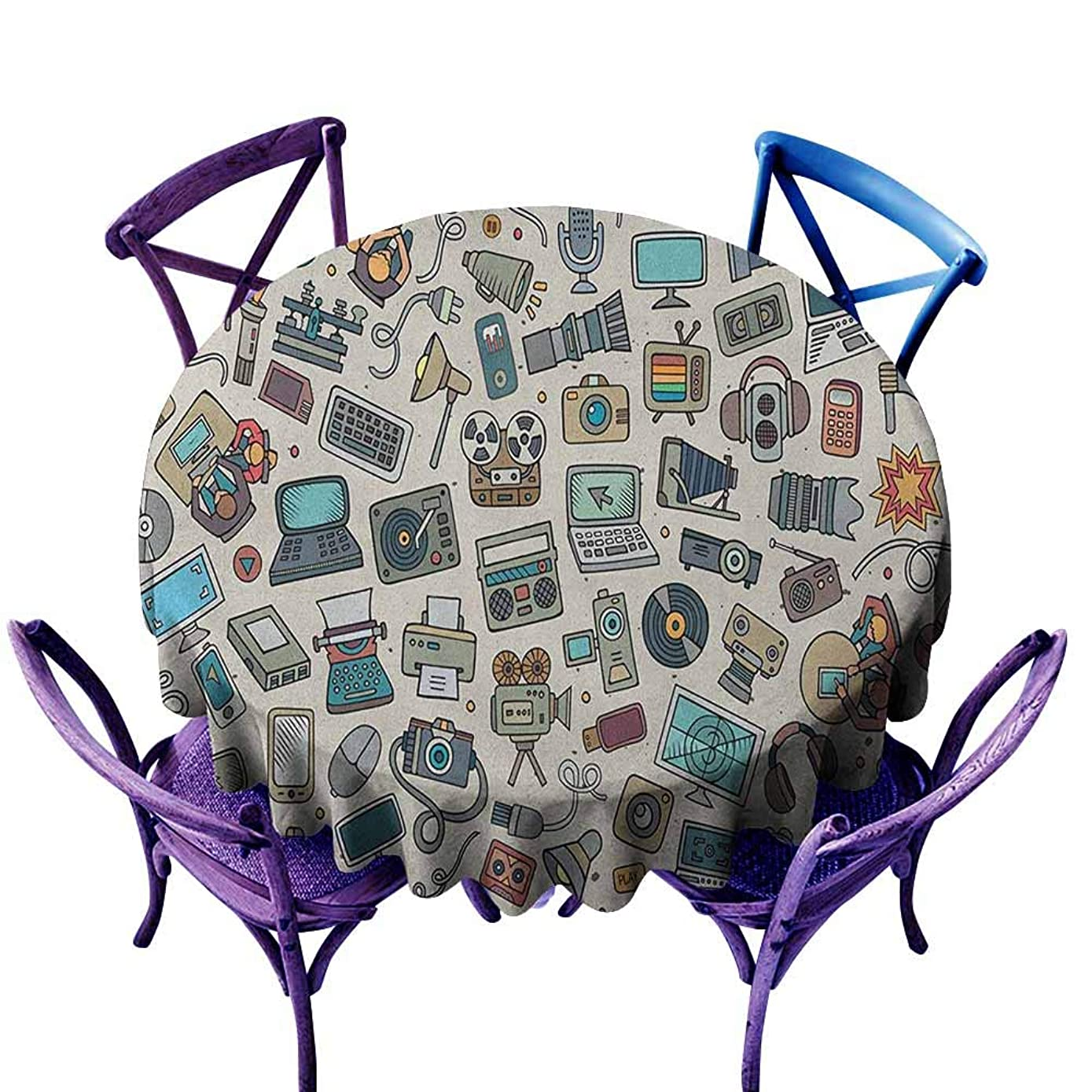 ONECUTE Round Solid Polyester Tablecloth,Doodle Complation of Various Office Gadgets Recorder Tv Laptop Monitor Tablet Switch Mouse,Party Decorations Table Cover Cloth,35 INCH Multicolor