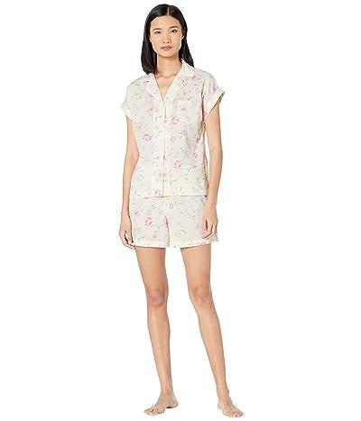 LAUREN Ralph Lauren Woven Short Sleeve Dolman Pointed Collar Boxer Pajama Set (Multi Floral) Women
