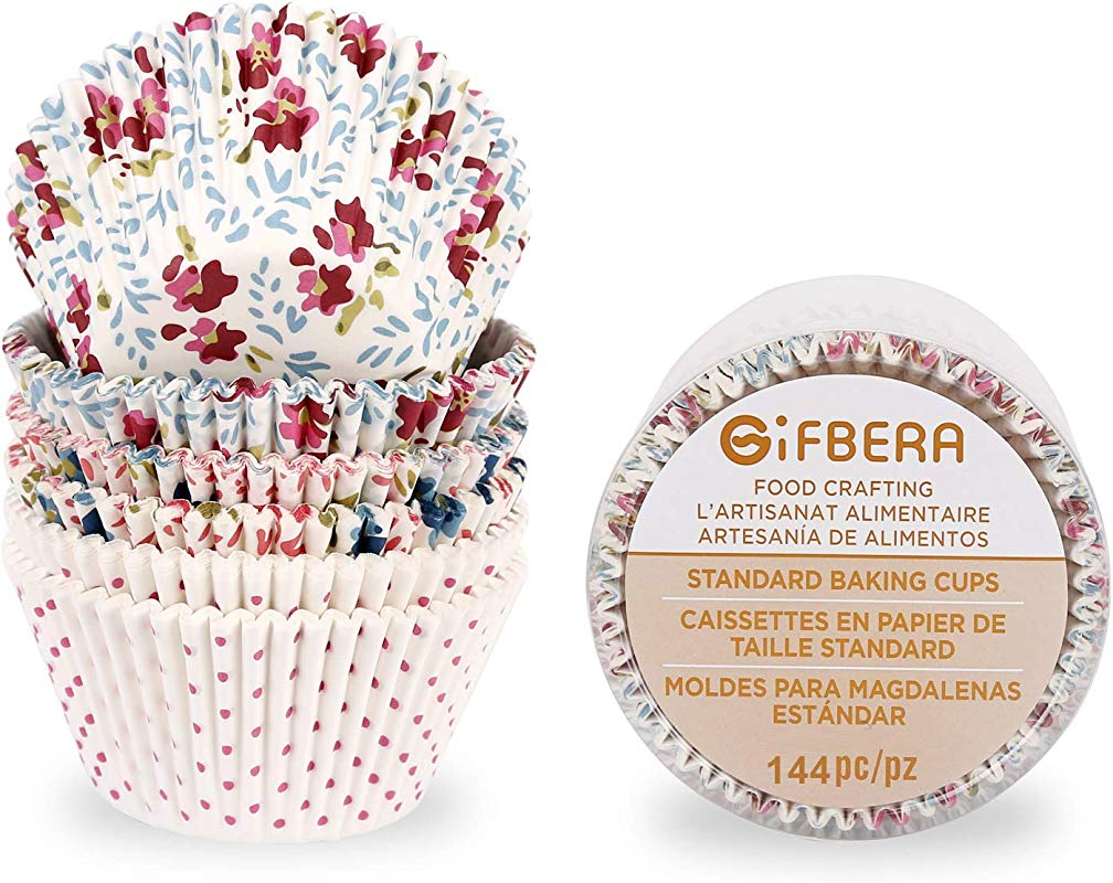 Gifbera Floral Large Standard Cupcake Liners Flower Print Muffin Baking Cups 150 Count
