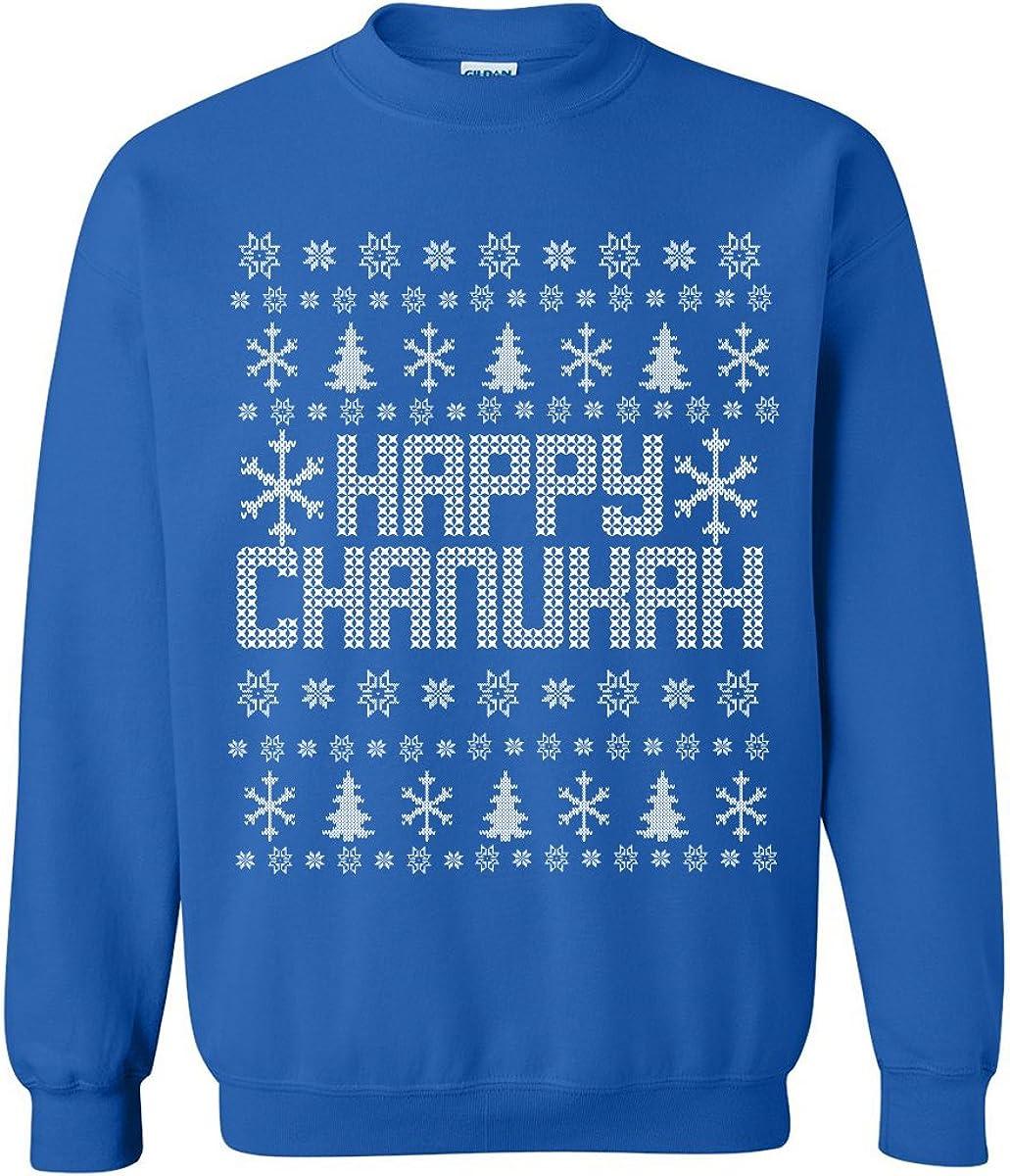 zerogravitee Happy Chanukah Ugly Holiday Sweatshirt Crewneck Sweatshirt