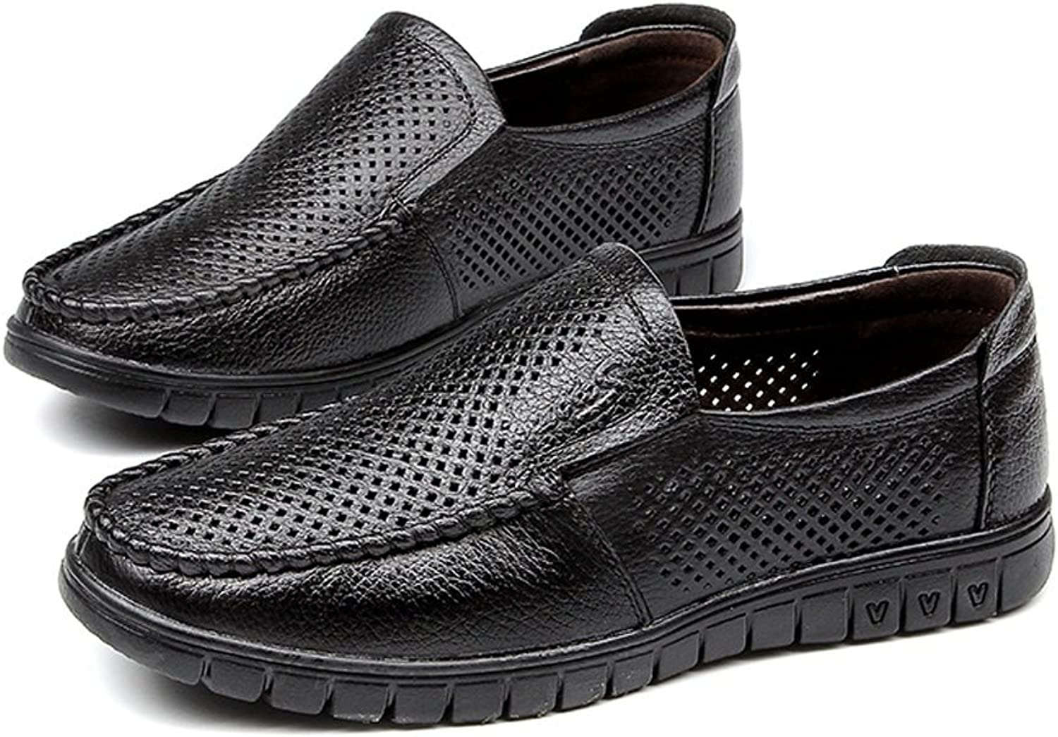 CHENXD shoes, Men's Classic Genuine Leather Soft Sole shoes Breathable Perforation Upper Slip-on Flat Loafer