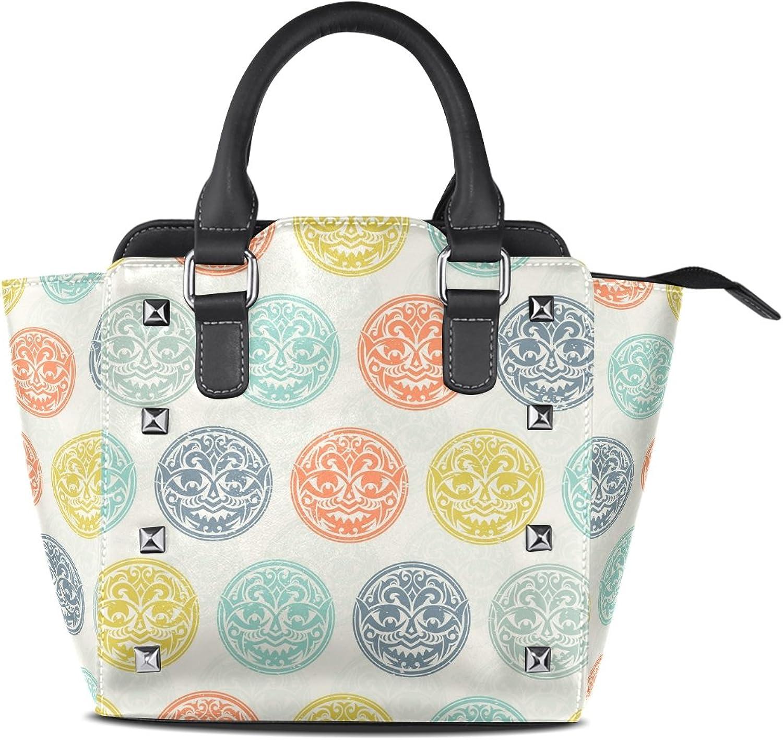Sunlome colorful Tribal Mask Print Handbags Women's PU Leather Top-Handle Shoulder Bags