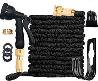 Expandable Garden Hose Pipe 3 Times Expanding 100FT Lightweight with 8 Function Spray Gun Flexible Magic Water Hose Brass ...