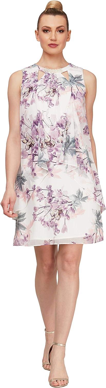 S.L. Fashions Women's Sleeveless Cutout PearlNeck Dress