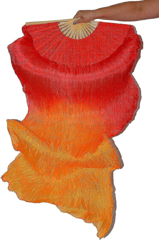 Tanzbekleidung & Accessories Schleierfächer Tanz Fächer Fächerschleier Seidenfächer Seidenfächer Seidenfächer Flügel Bauchtanz 1 Paar Rot-Orange B0725CRZGC  Ausgezeichnet fe8462