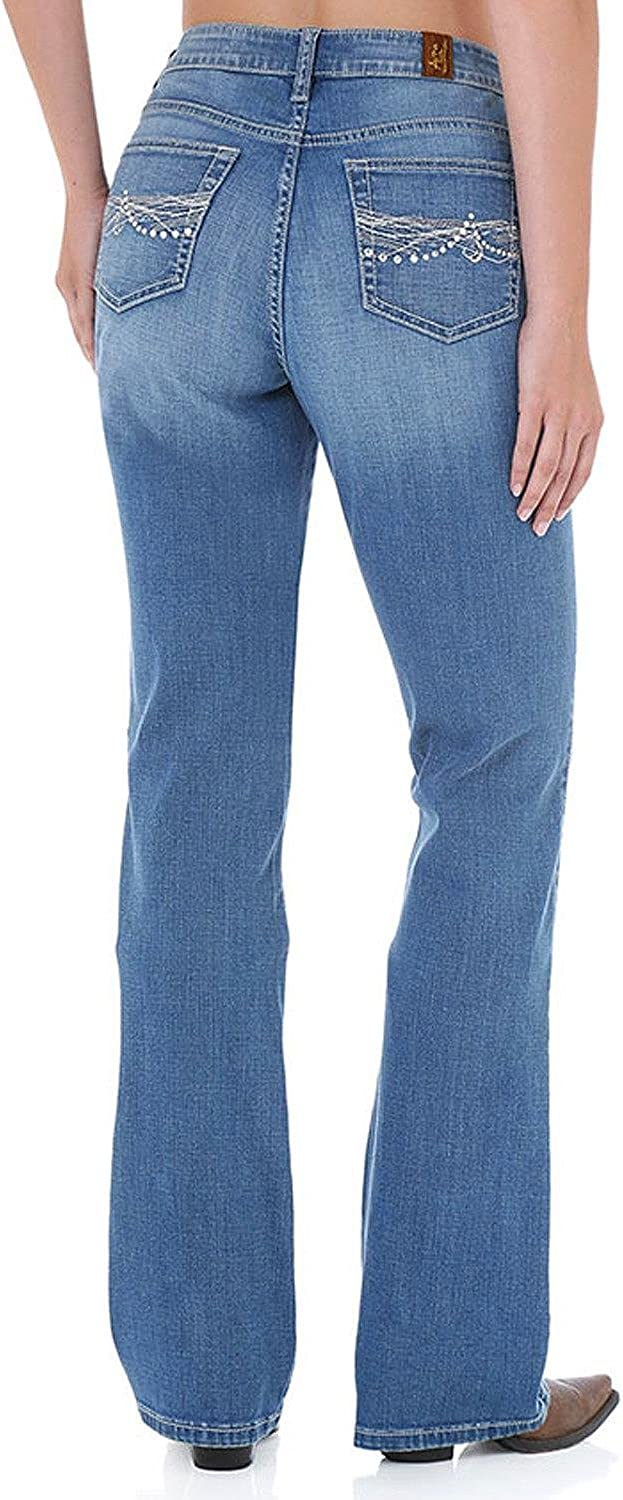 Wrangler womens Aura Instantly Popular standard Slimming Rise Mid Cut Boot Jean Sales for sale
