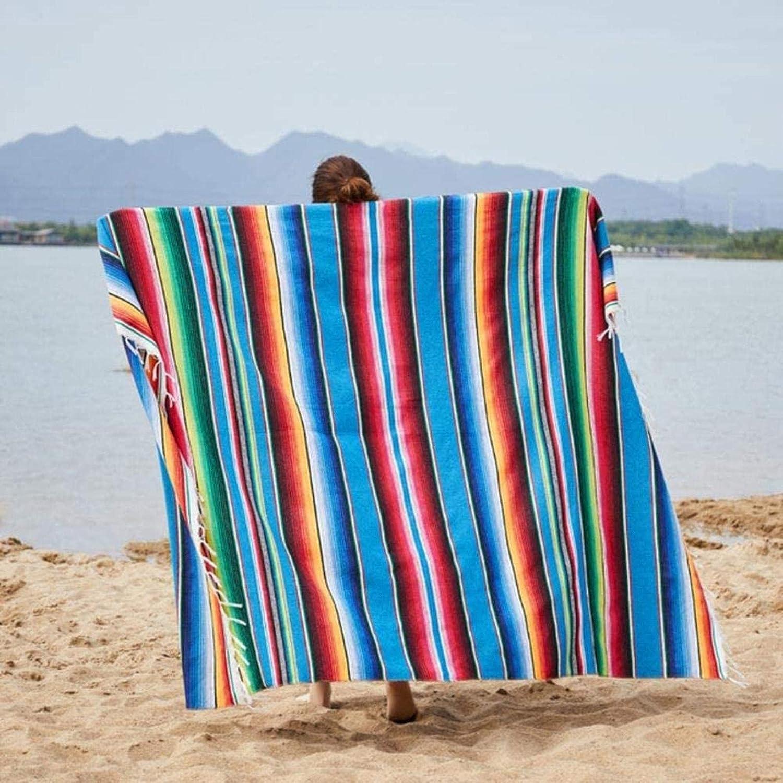 JYHF Ethnic Rainbow Striped Max 64% OFF Multifunctional Topics on TV Beach Towel Blanket