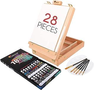 Coffret Peinture Acrylique pour Artiste avec Boite Chevalet Bois, 18 Tubes de Peinture Acryliques, 6 Pinceaux Peinture - T...