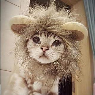 PETLESO 猫被り物 猫用帽子 猫 ライオン ウィッグ 変身 かぶりもの グッズ S