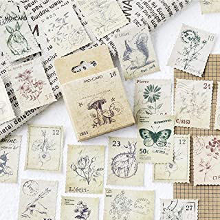 EORTA Post Stamp Stickers Vintage Postage Stamps Assortment Adhesive Paper Sticker Decor Envelope/Bag Seal for Diary Plann...