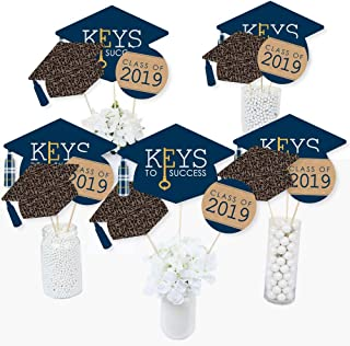 Grad Keys to Success - 2019 Graduation Party Centerpiece Sticks - Table Toppers - Set of 15