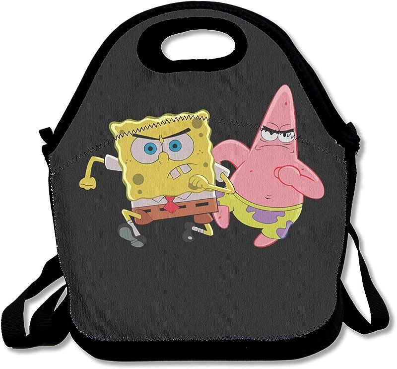 WSXEDC Lunch Bag Patrick Star And Spongebob Printing Handbag With Adjustable Shoulder Strap For Picnic School