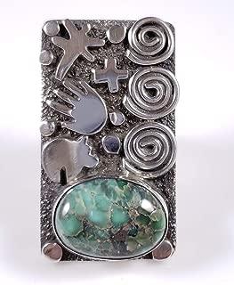 Sterling Silver Navajo Petroglyph Design Ring Gem Damele Turquoise Alex Sanchez