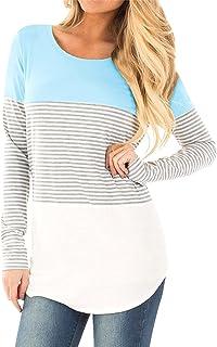 Naier Womens Long Sleeve Shirts Color Splicing Spring Top Sweatshirt