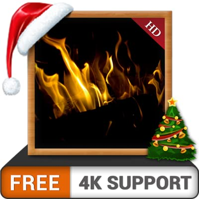 Dark Fireplace HD FREE - Enjoy the winter Christmas holidays with hot romantic fireplace on your HDR 8K TV 4K TV and fire devices as a wallpaper & theme for mediation & peace