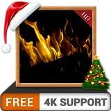 暗い暖炉HD無料-冬のクリスマスホリデーを、HDR 8K 4Kテレビのホットロマンチックな暖炉と、調停&平和のための壁紙とテーマとしてお楽しみください