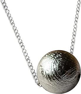 Genuine Natural Gibeon Meteorite Silver Plated Jewelry Round Bead Pendant