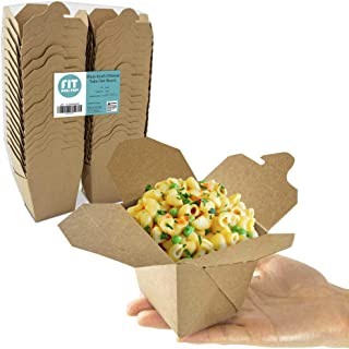 """[50 Pack] 8 oz Chinese Take Out Boxes - 2.75x2.5"""" Plain Kraft Paperboard Food Containers, Leak and Grease Resistant Pint Size Asian Rectangle to Go Boxes, Candy Buffet Box and Party Favors"""