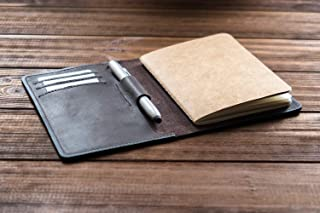 "Personalized Leather Field Notes Cover With Pen Holder, Moleskine Cahier Cover, Field Notes wallet, Travel journal, Pocket sized notebook, fits 3.5"" x 5.5"" notebooks."