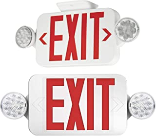 ?2 Pack? UL Certified EXIT Sign with Emergency Light Red EXIT Compact Combo Hardwired High Output